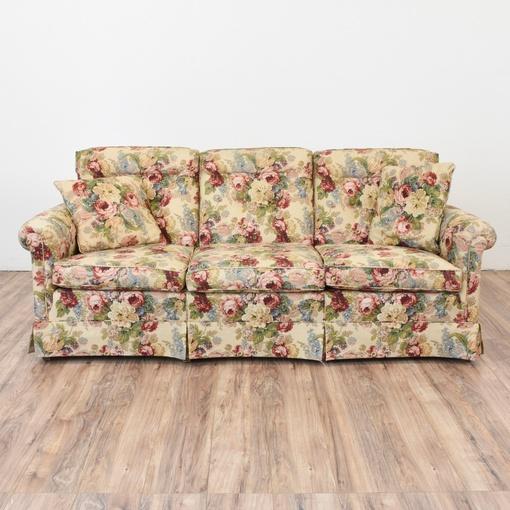 Traditional Floral Beige Sofa Loveseat Vintage Furniture