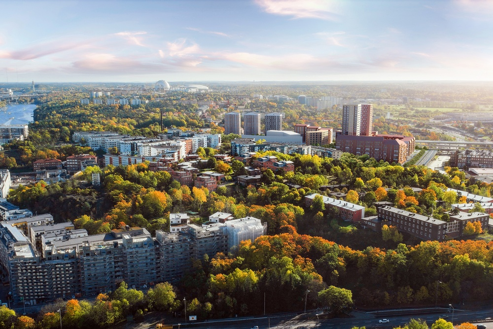 När allt står klart 2028 kommer det finnas cirka 900 nya bostäder i Årstahusen. Visionsbild över Årstahusen.