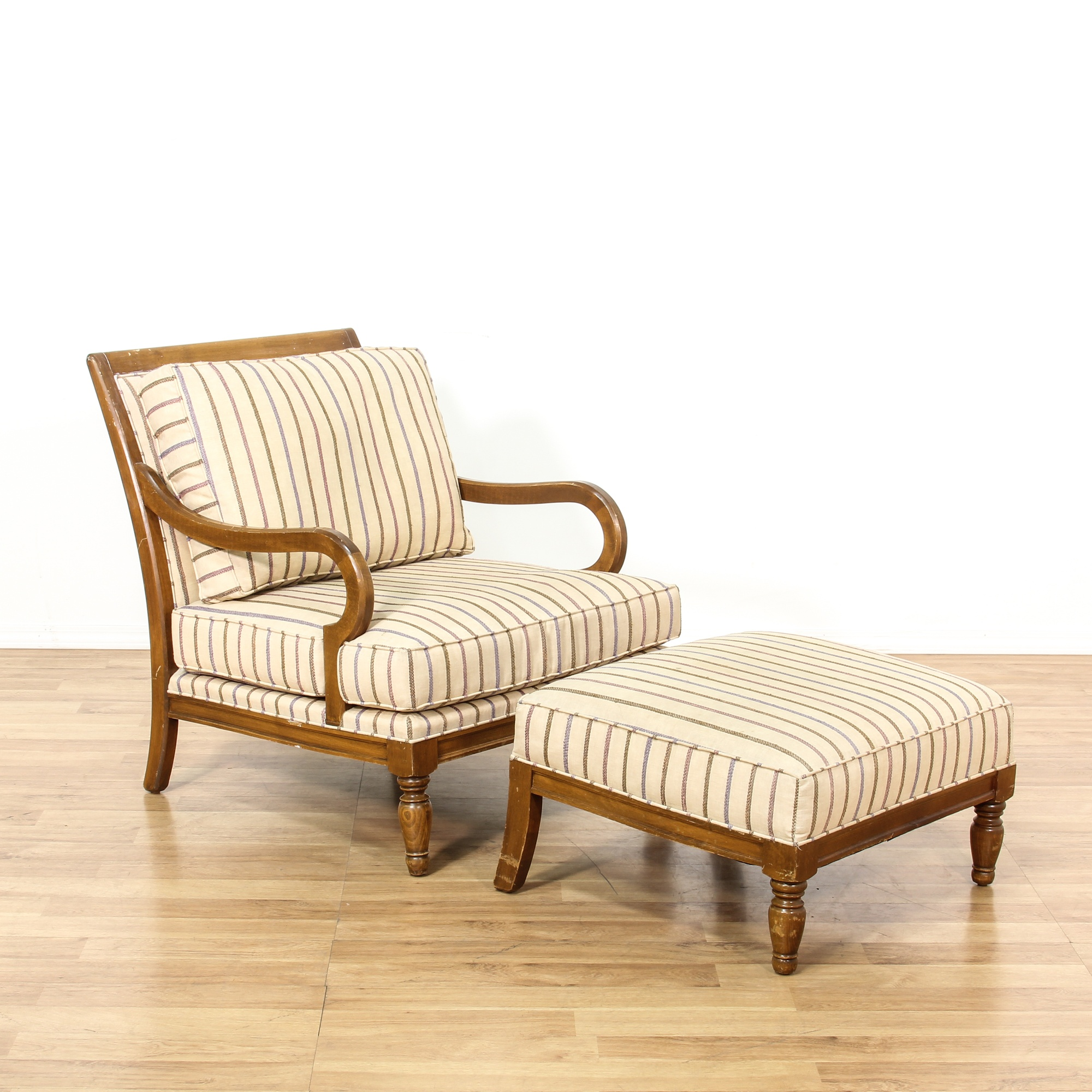 Alexander julian striped armchair ottoman set for G furniture los angeles