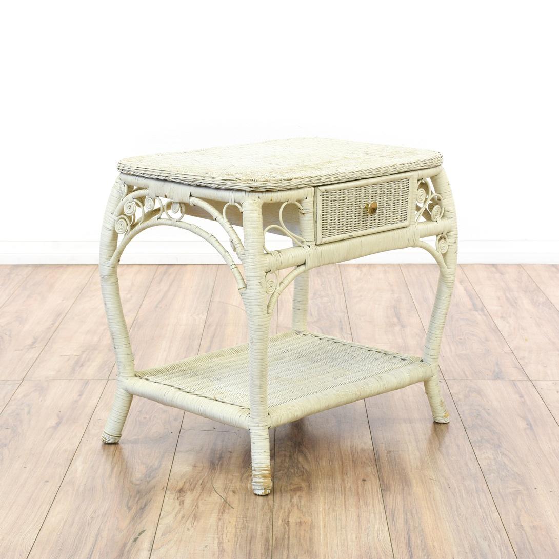 2 Tier White Wicker Nightstand Loveseat Vintage Furniture San Diego Los Angeles