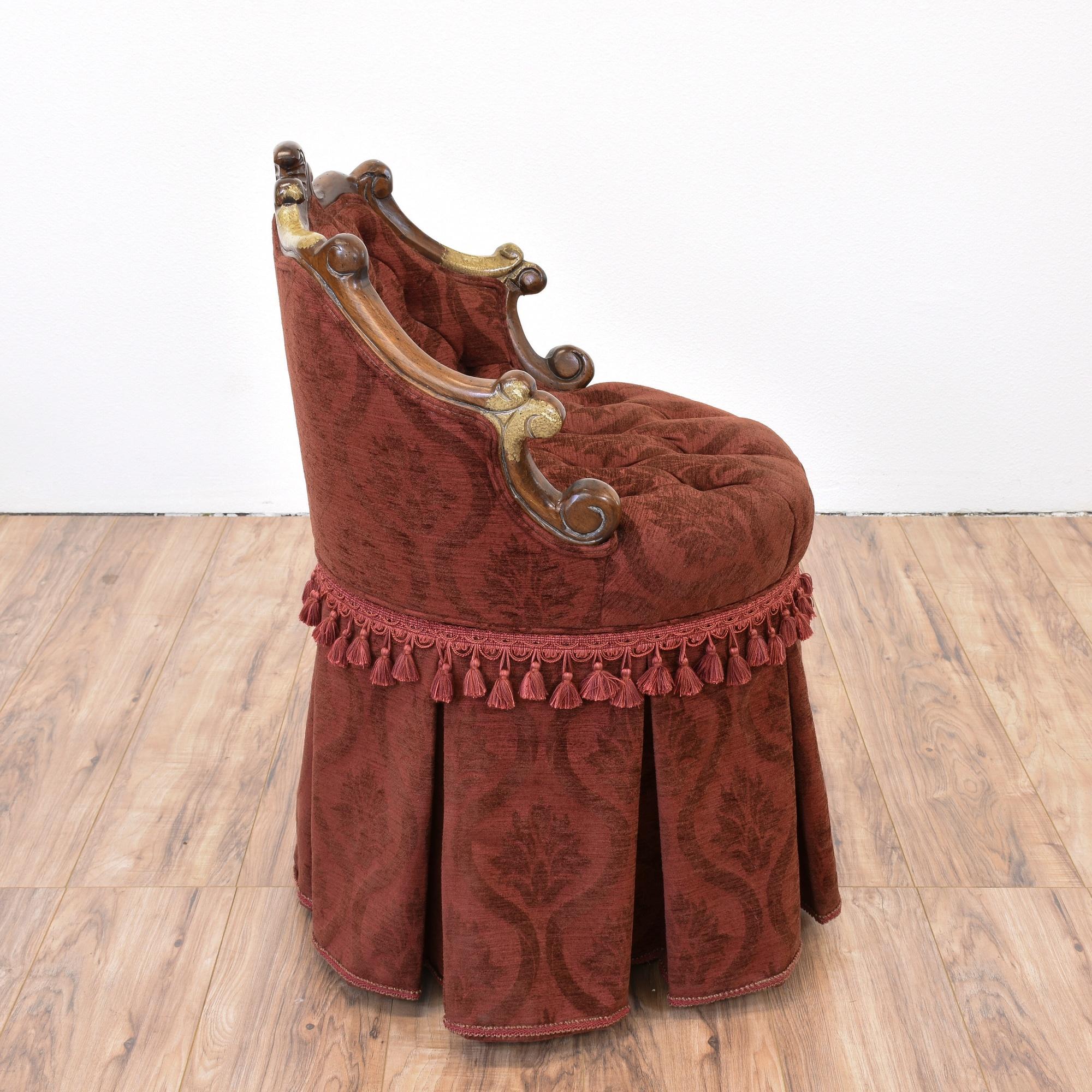 Victorian Red Vanity Chair Loveseat Vintage Furniture