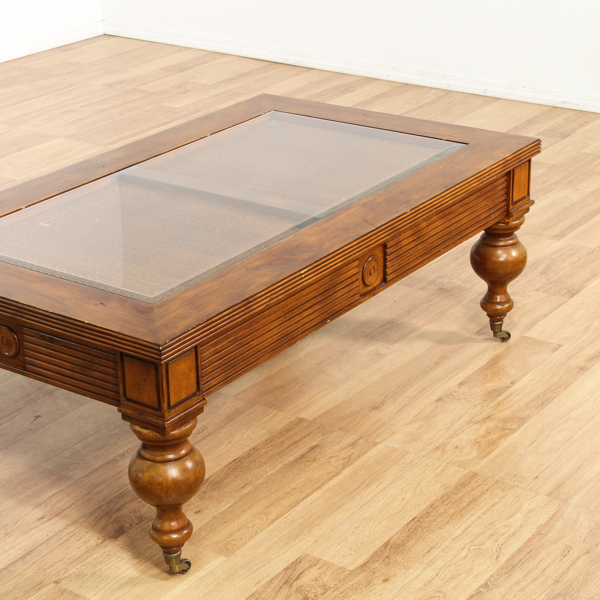 Carved Wood Glass Top Coffee Table