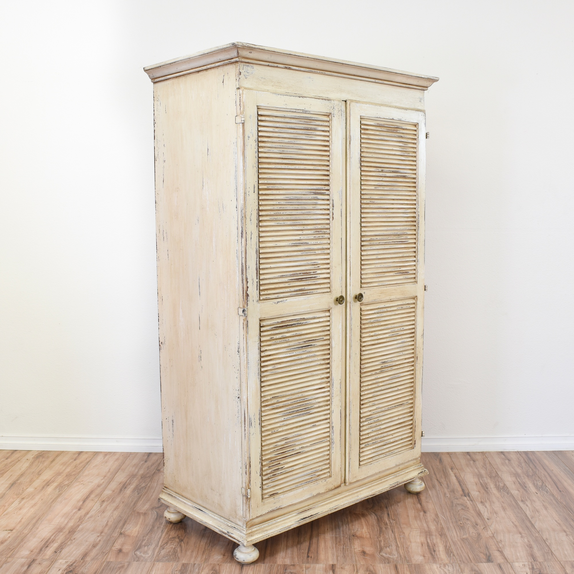 White Shabby Chic Shutter Door Armoire Wardrobe | Loveseat Vintage  Furniture San Diego