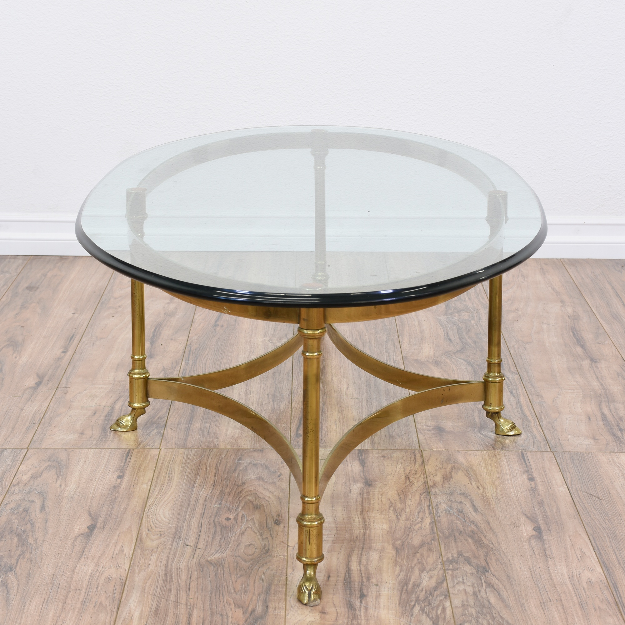 Hollywood Regency Brass Oval Coffee Table Loveseat Vintage Furniture San Diego Los Angeles