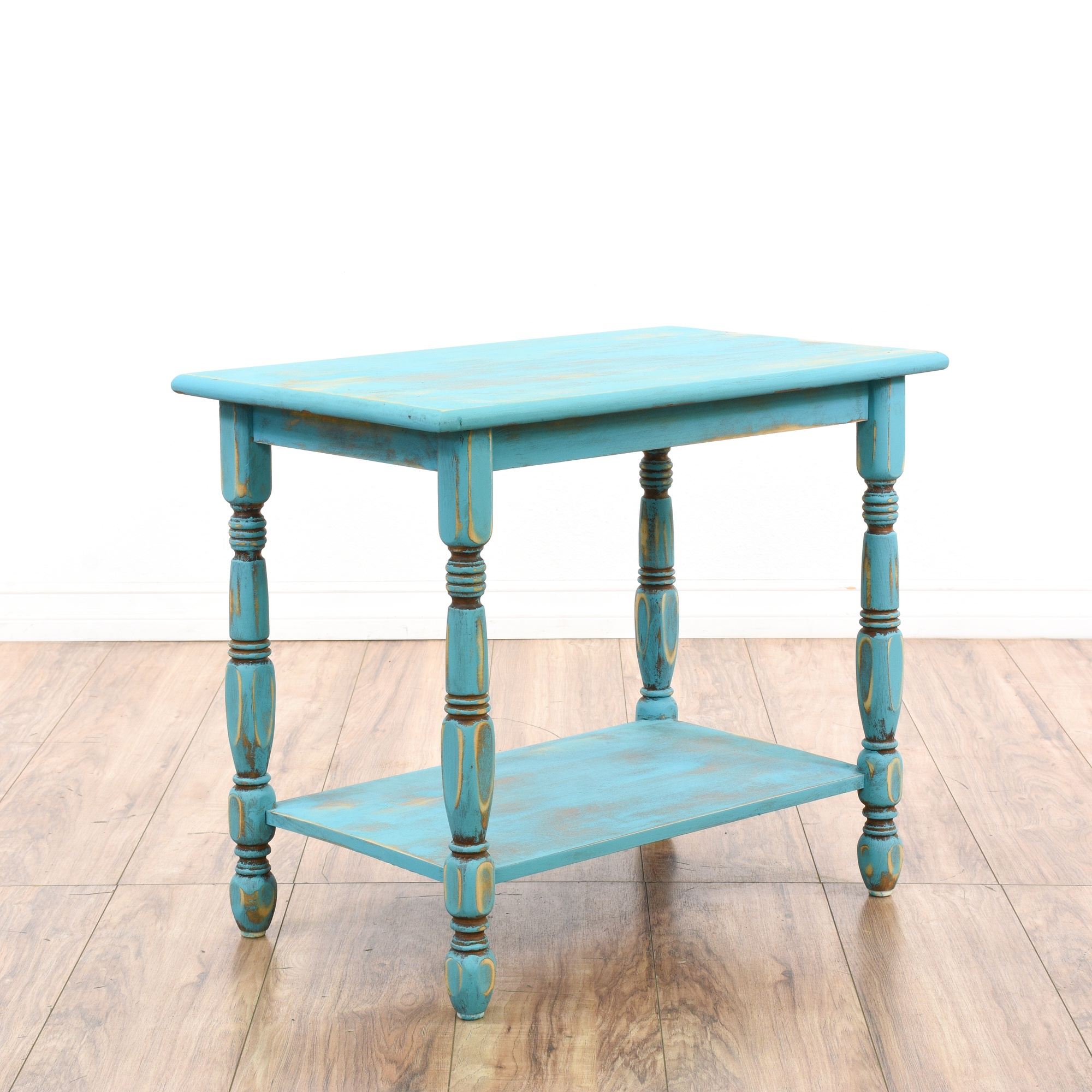 Blue shabby chic turned wood tiered end table loveseat