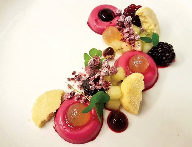 Blackberry, hibiscus, apples, shortbread at the Clock House, Ripley, Surrey