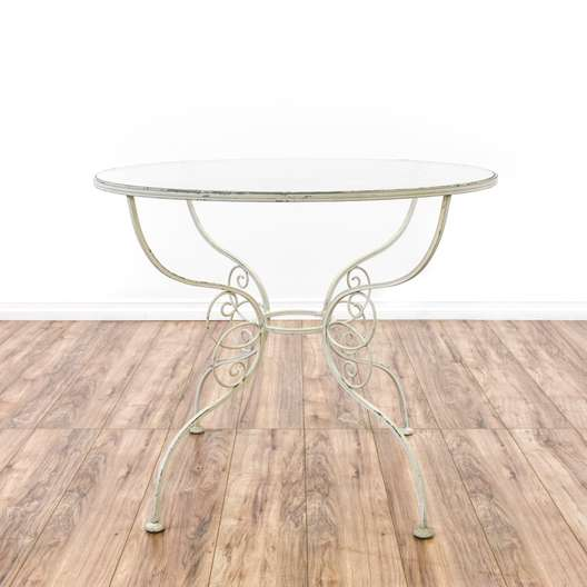 White Wrought Iron Glass Top Patio Table