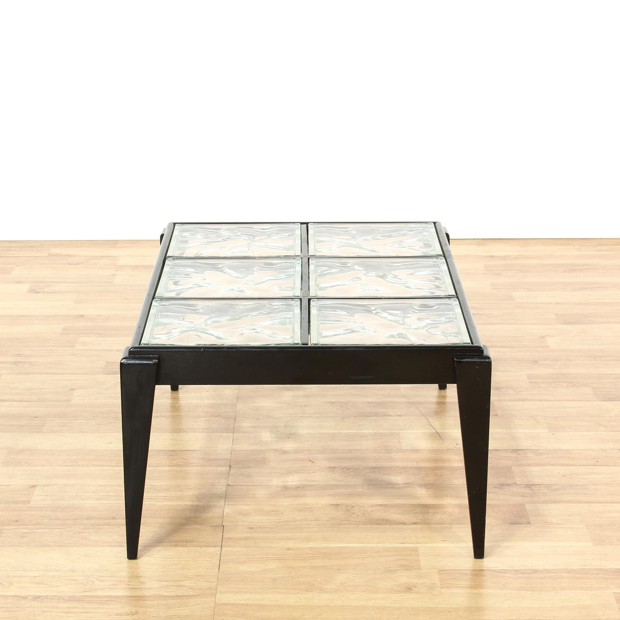 Contemporary Black Glass Block Coffee Table