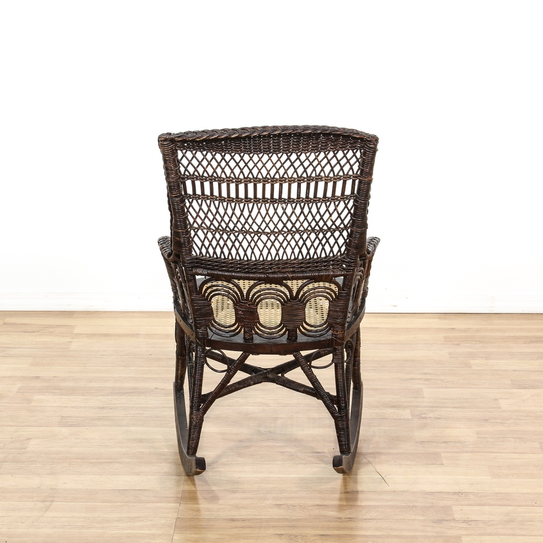 Black Wicker Rattan Cane Seat Rocking Chair Loveseat Vintage Furniture San Diego Los Angeles