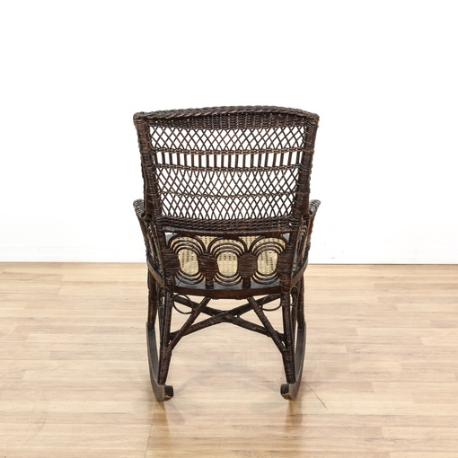 Black Wicker Rattan Cane Seat Rocking Chair  Loveseat Vintage ...