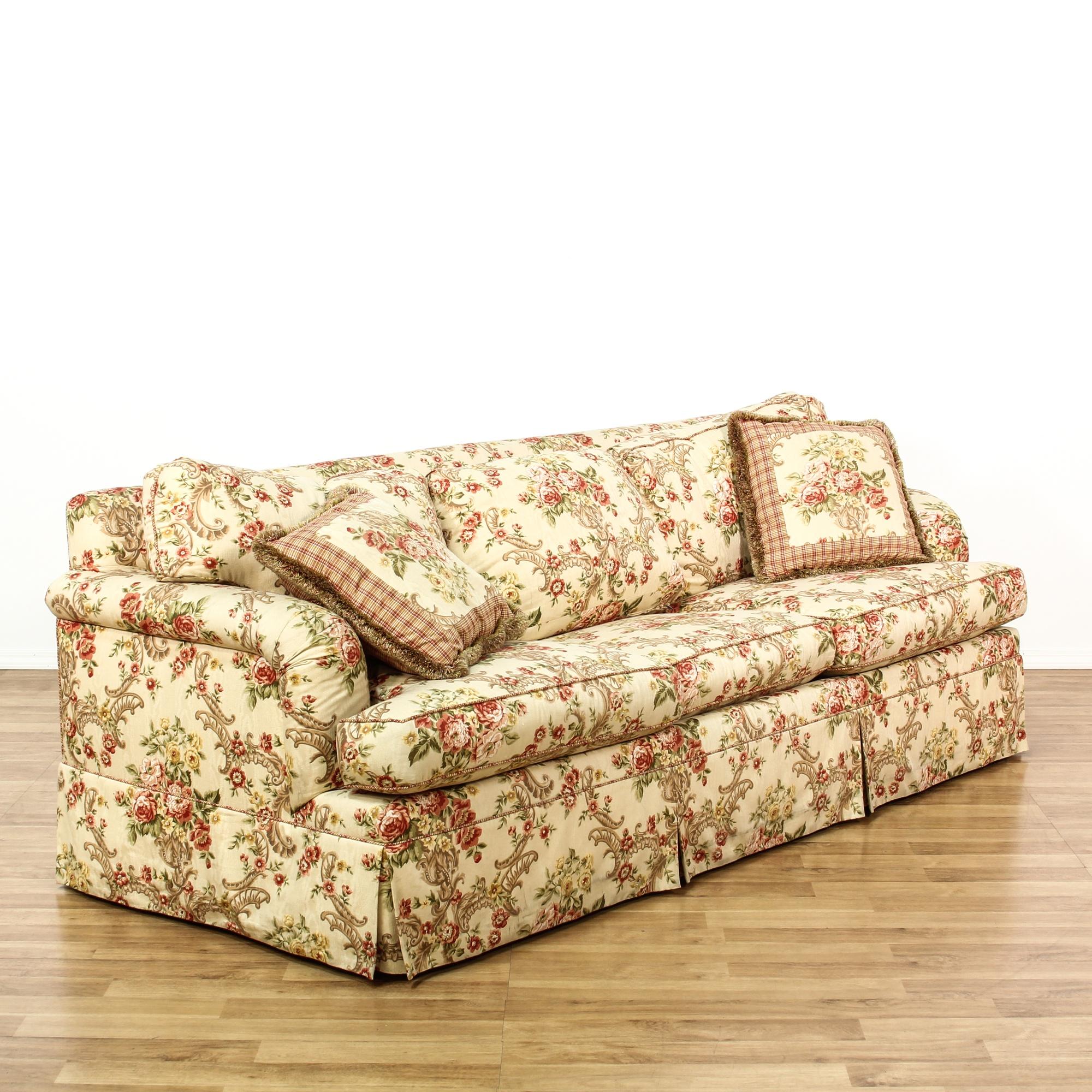 Floral Upholstered Sleeper Sofa Bed Loveseat Vintage