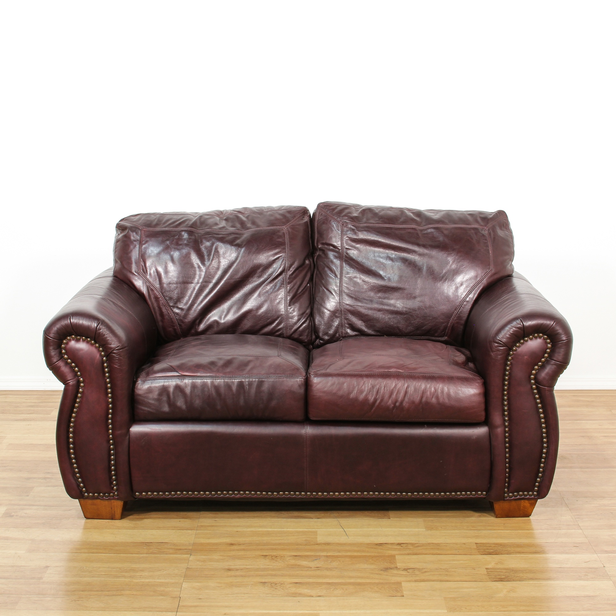 Vintage Upholstered Leather Sofa: Brown Leather Upholstered Sofa Loveseat