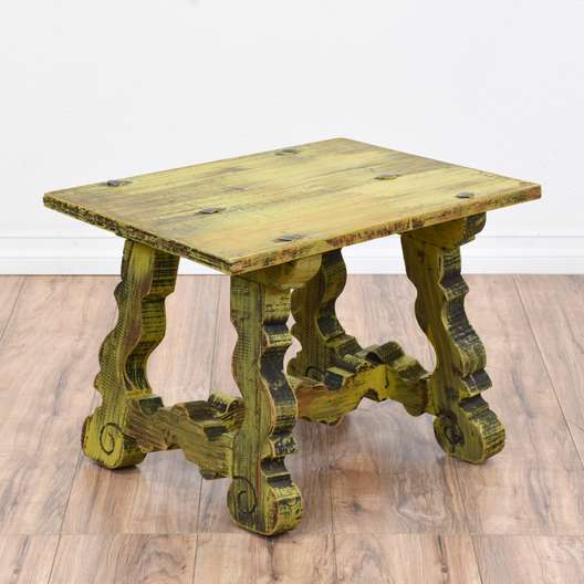 Yellow Shabby Chic Carved End Table