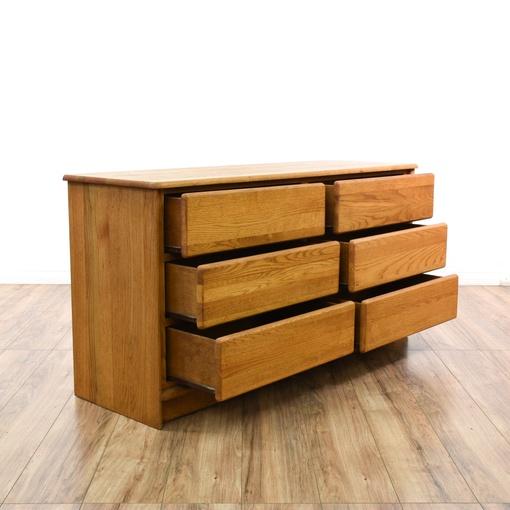 Retro Solid Oak 6 Drawer Dresser Loveseat Vintage Furniture San Diego Los Angeles