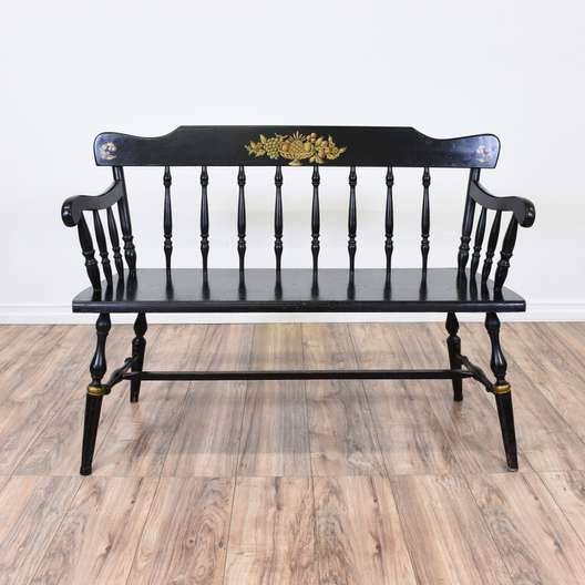 Black & Gold Floral Hitchcock Style Bench
