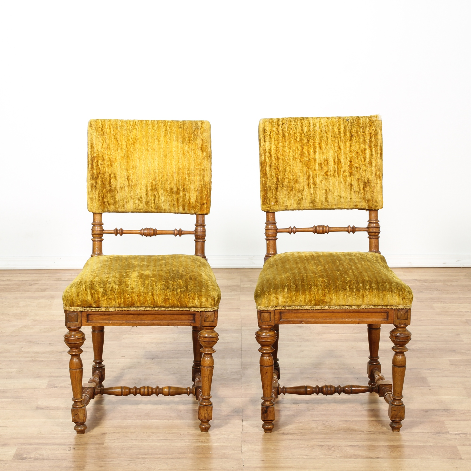 Pair of Mustard Yellow Velvet Accent Chairs