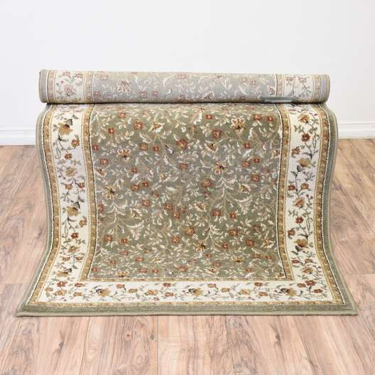 Sage Green Floral Woven Area Rug