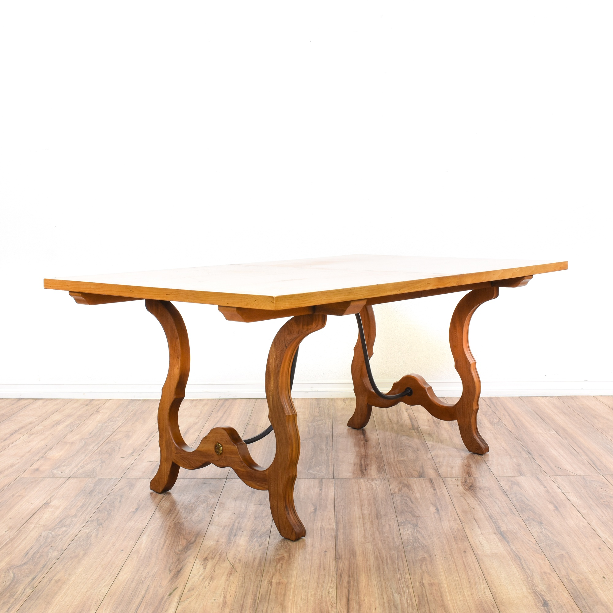 Wood carved metal trestle base dining table loveseat