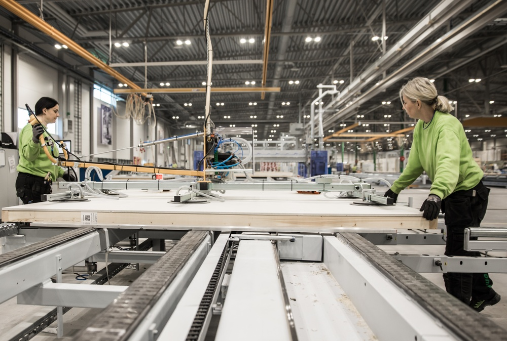 Husproduktion Värö skivpåläggning Derome
