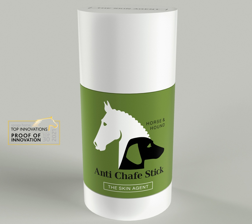 Horse & Hound Anti Chafe Stick from The Skin Agent. Product image with the Spoga Top Innovation-sticker.