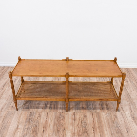 Wood And Cane Coffee Table Loveseat Vintage Furniture San