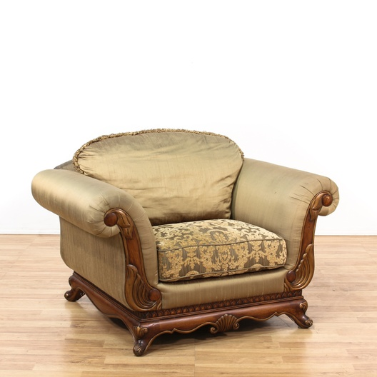 Soft Green Wooden Framed Silk Oversized Chair Loveseat Vintage Furniture Los Angeles