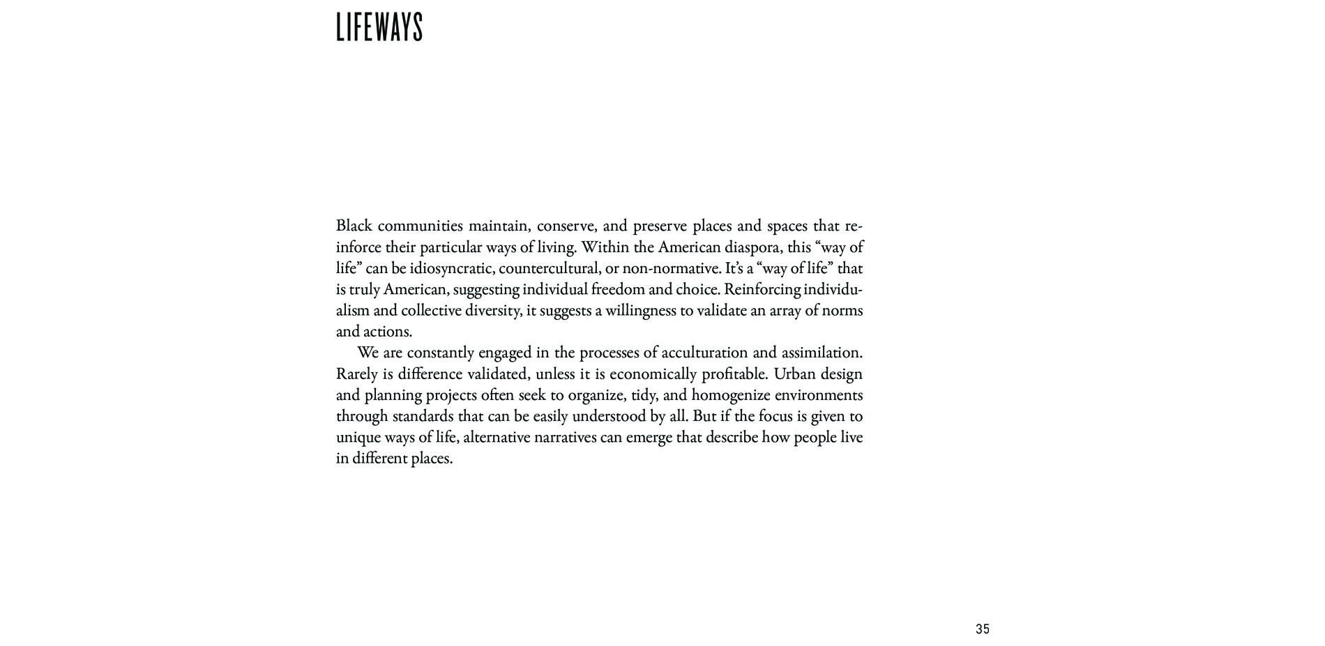 Black Landscapes Matter, Lifeways (pg. 35)