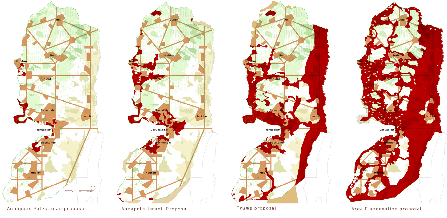 2.2. Palestinian open spaces and development - with previously proposed borders.
