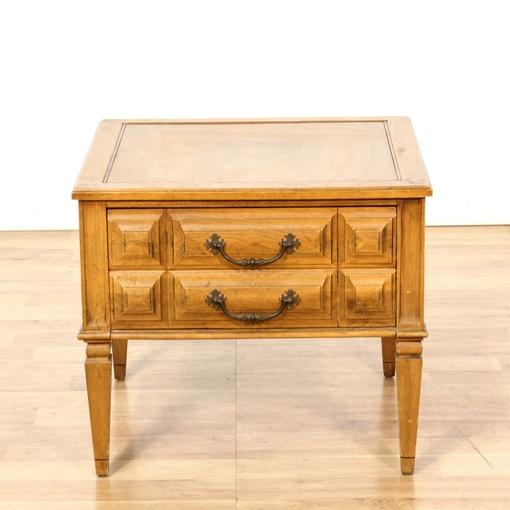 mid century light oak carved end table loveseat vintage furniture san diego los angeles. Black Bedroom Furniture Sets. Home Design Ideas