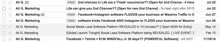 Ali G. Marketing emails