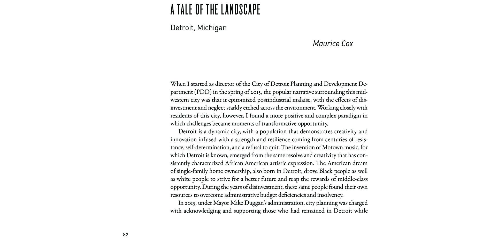 . Black Landscapes Matter, A Tale of the Landscape: Detroit, Michigan (pg. 83)