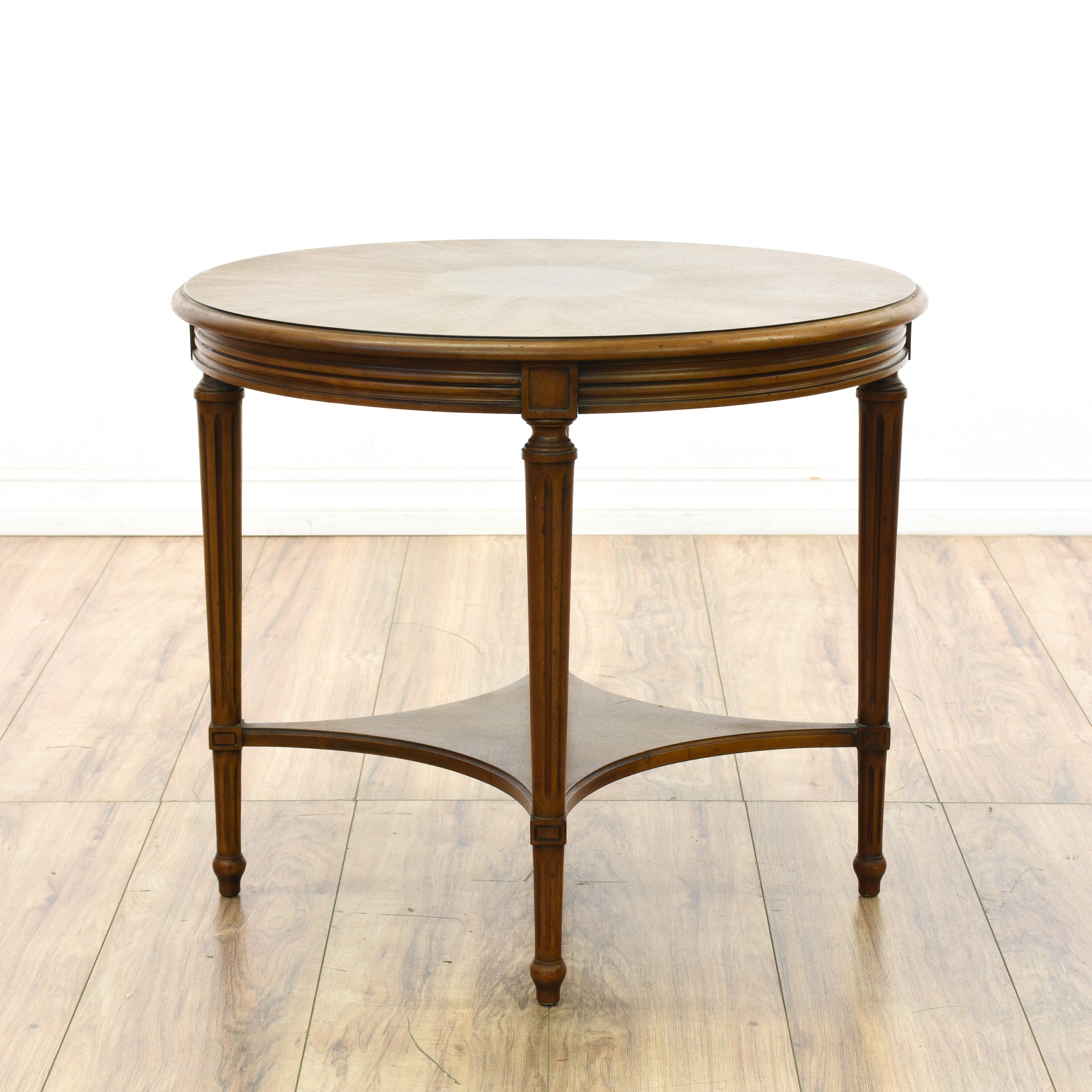 """Round Coffee Table Pair: Pair Of """"John Widdicomb"""" Round End Tables"""