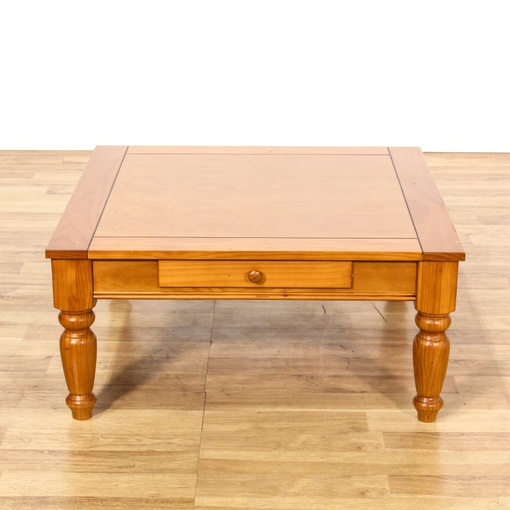 Pine Coffee Table With Baskets: Large Rustic Country Pine Stained Coffee Table