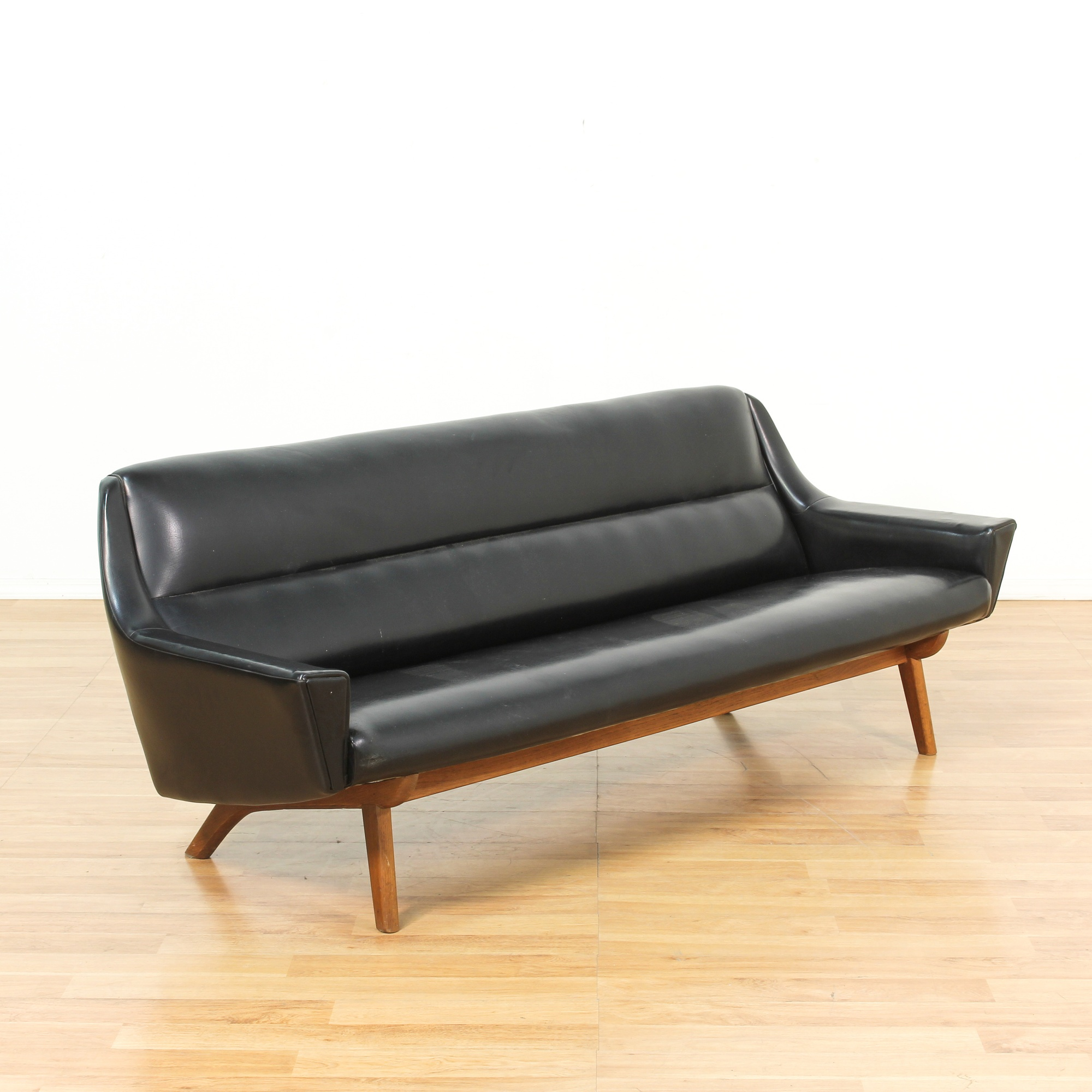 Black Danish Modern Sofa w/ Wood Legs | Loveseat Vintage ...