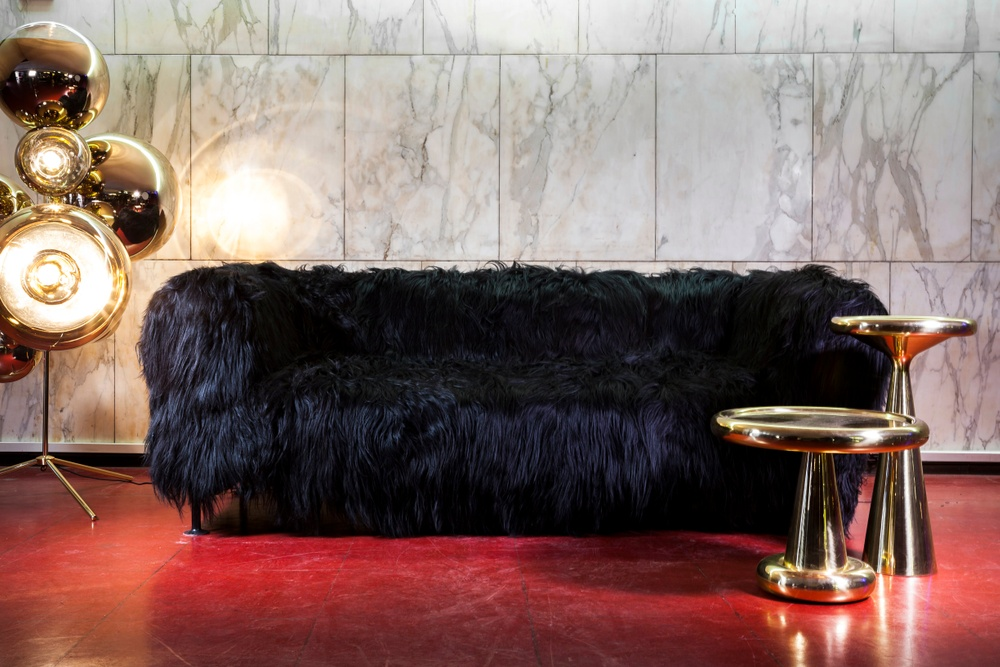 Bemz x Tom Dixon co-lab, a haute couture cover at Multiplex, Milan Design Week 2017. Made of Icelandic sheepskin in natural colourway brown/black for IKEA Delaktig.