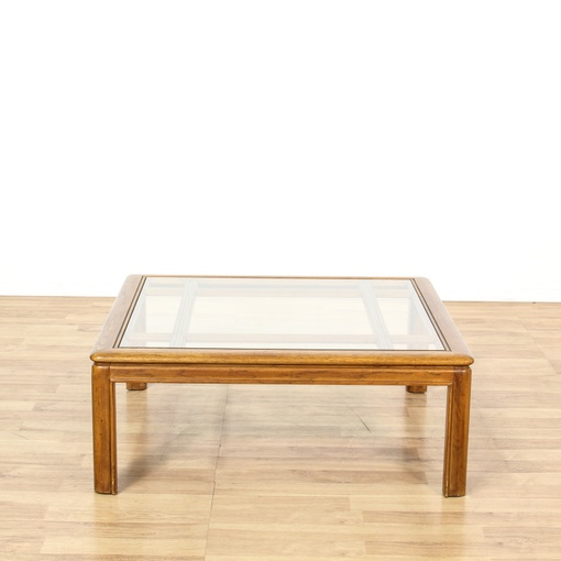 """Drexel"" Square Glass Top Coffee Table"