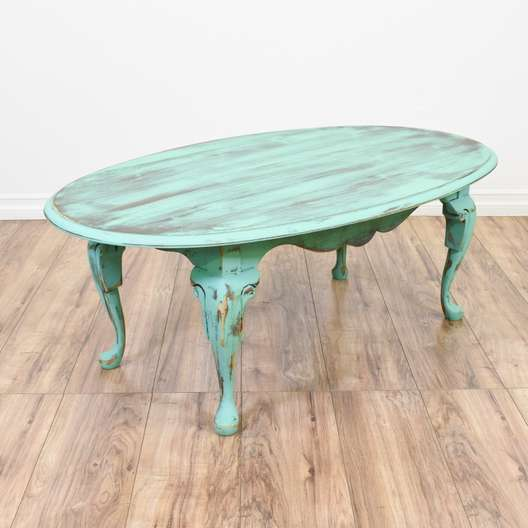 Light Teal Shabby Chic Oval Coffee Table