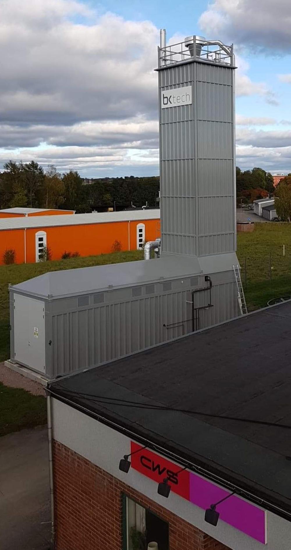 Mobil ångcentral 1,3MW inklusive pelletsförråd.