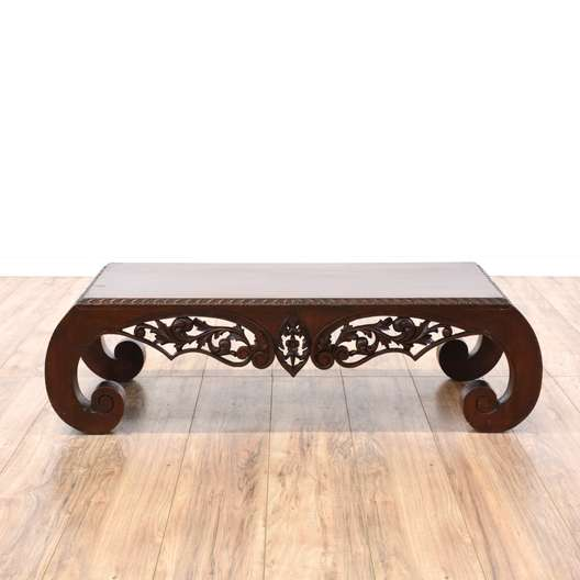 Chinese Carved Scroll Leg Kang Coffee Table