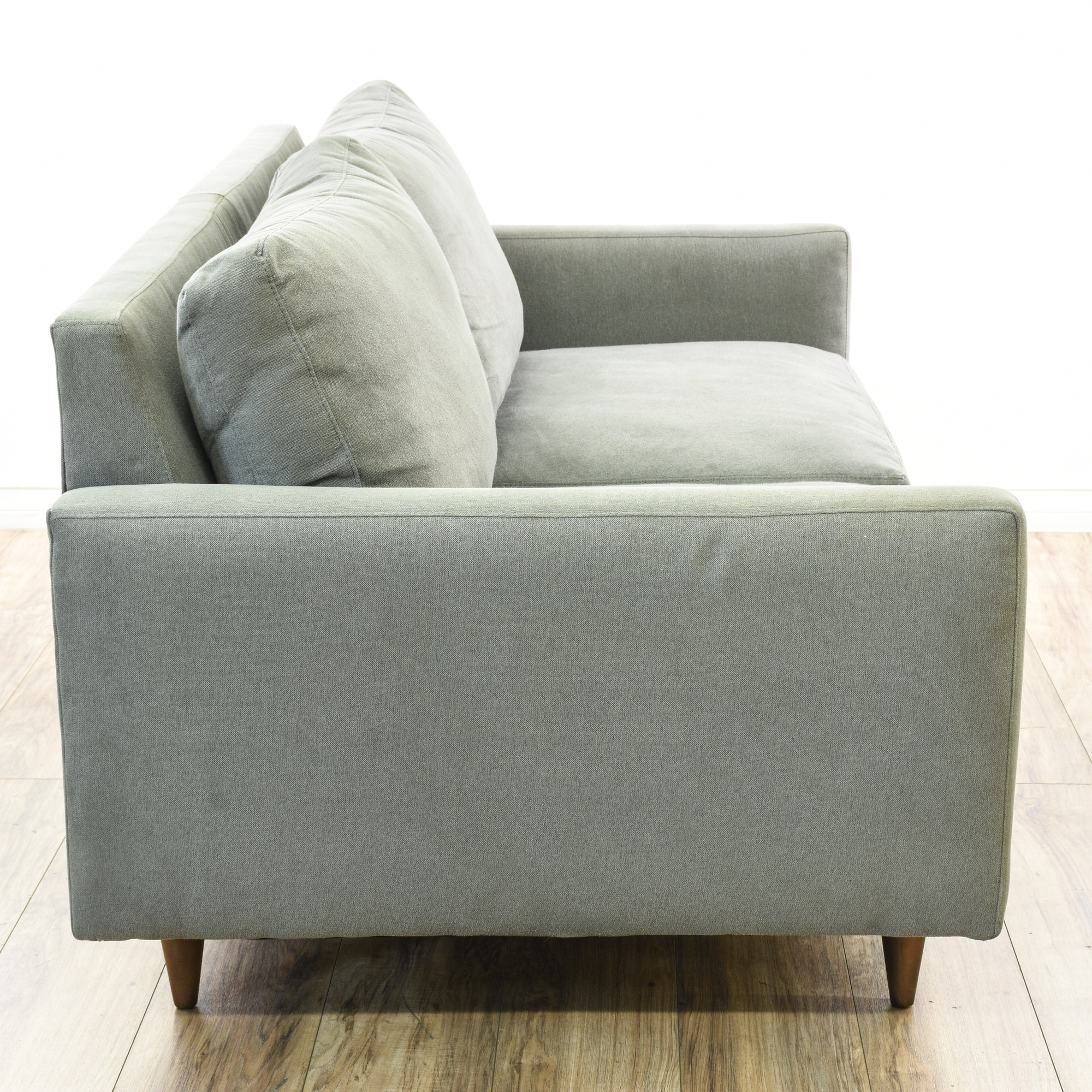 room and board faux suede mid century style sofa loveseat vintage furniture san diego los. Black Bedroom Furniture Sets. Home Design Ideas