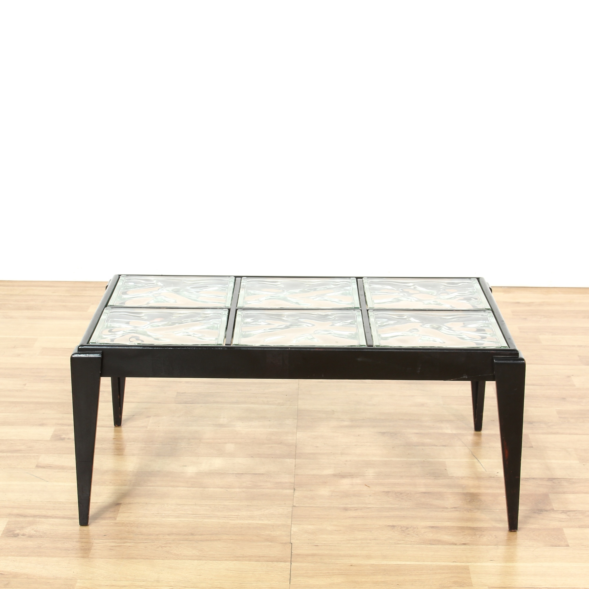 Contemporary Black Glass Block Coffee Table