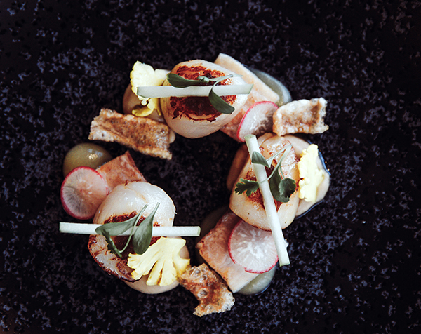 Falmouth Bay scallops, cauliflower, five-spiced pork, soy apple ginger