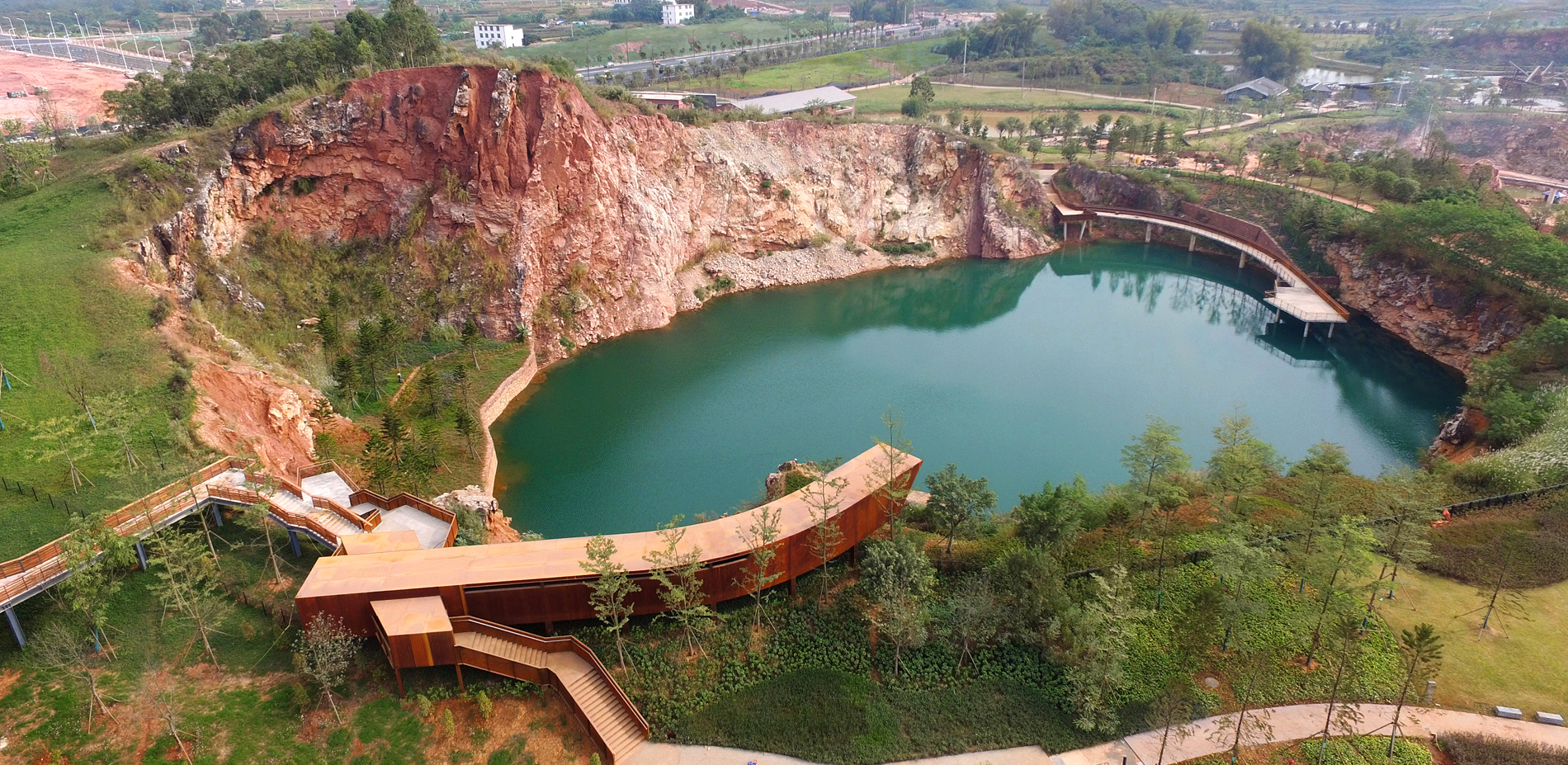 Enjoying Landscape of Jade Pond and Steep Cliff (Quarry No. 4)
