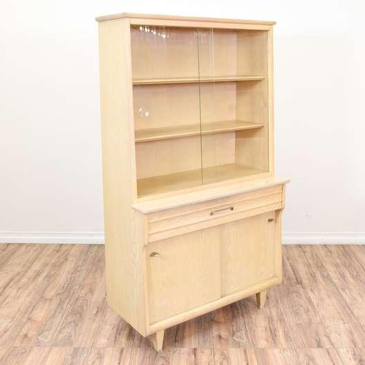 Mid Century Modern Blonde Wood Display Hutch