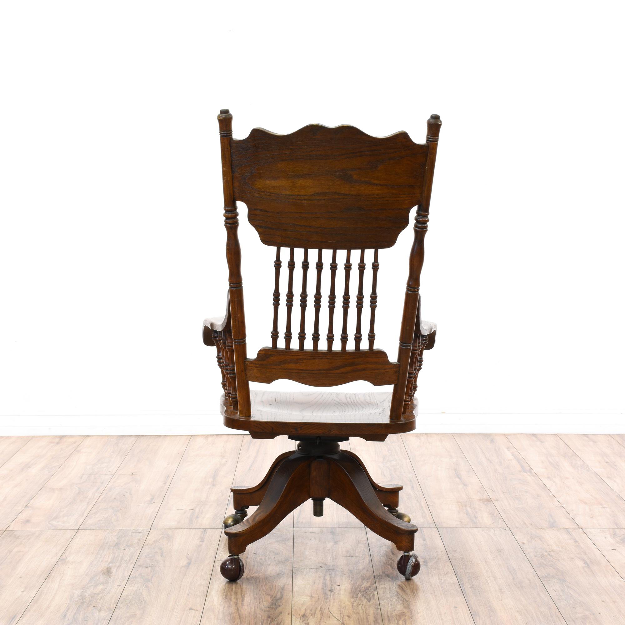 Victorian Oak Press Back Rolling Desk Chair