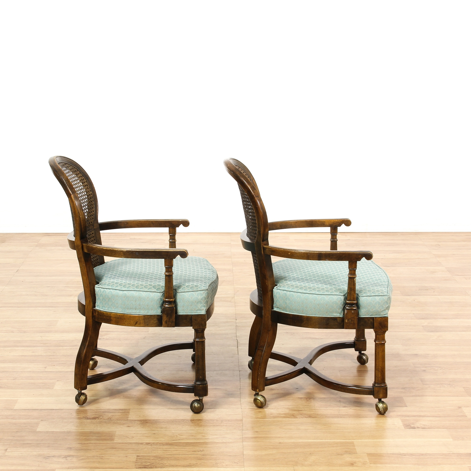 Set of 4 Rolling Cane Back Dining Chairs