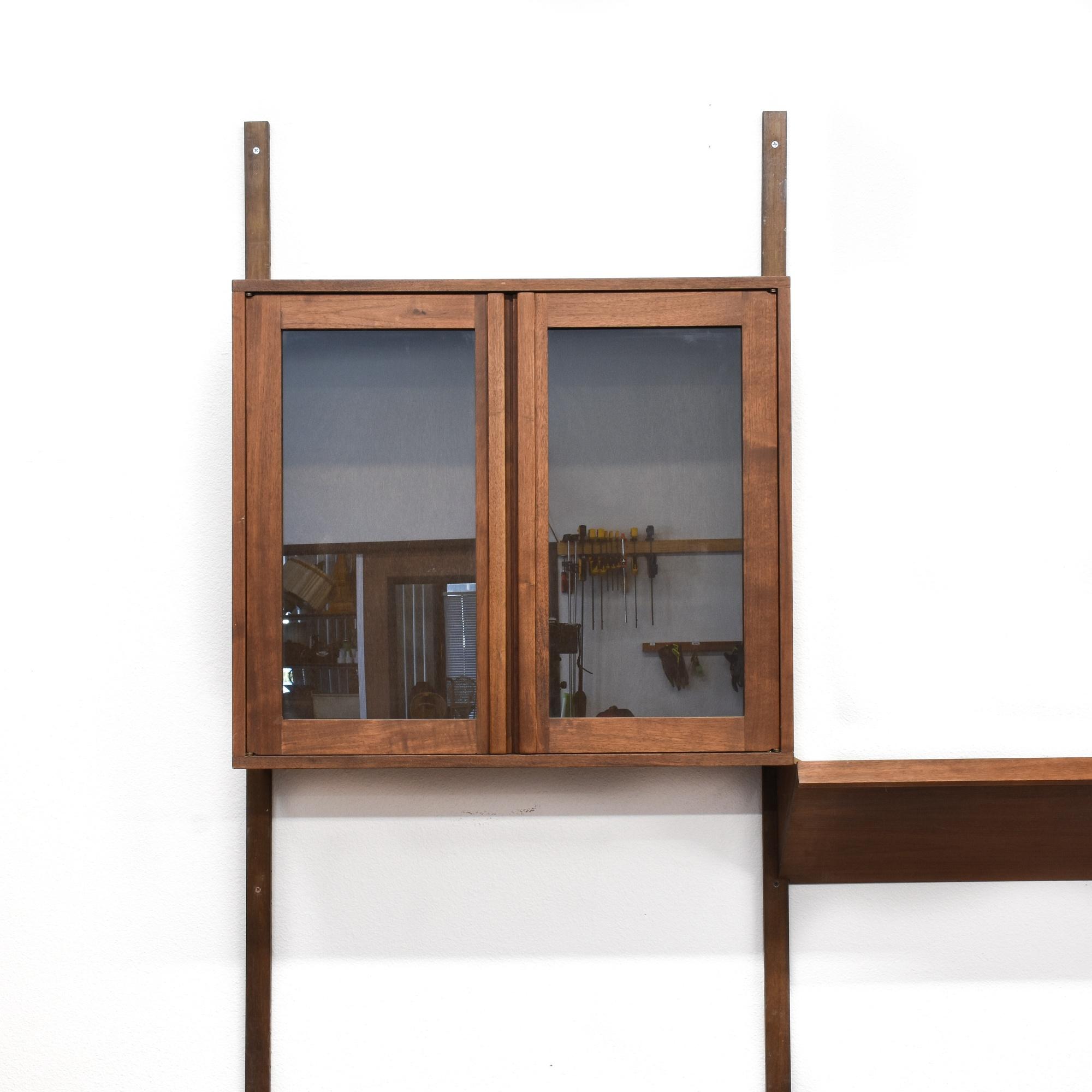 mid century modern wall unit cabinet shelf w desk. Black Bedroom Furniture Sets. Home Design Ideas