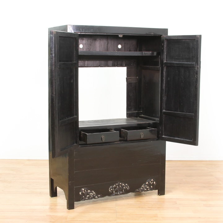 Black lacquer asian chinese media cabinet wardrobe for Oriental furniture los angeles