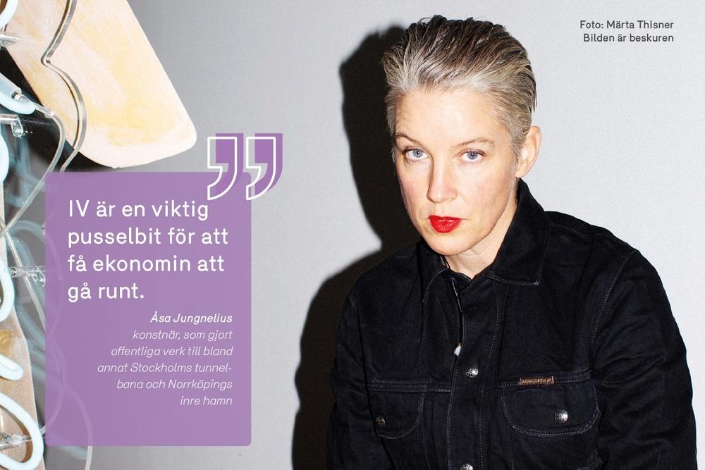 Konstnären Åsa Jungnelius arbetar mycket i glas och står bakom flera offentliga verk som berättigar till IV. Foto. Märta Thisner. Bilden är beskuren