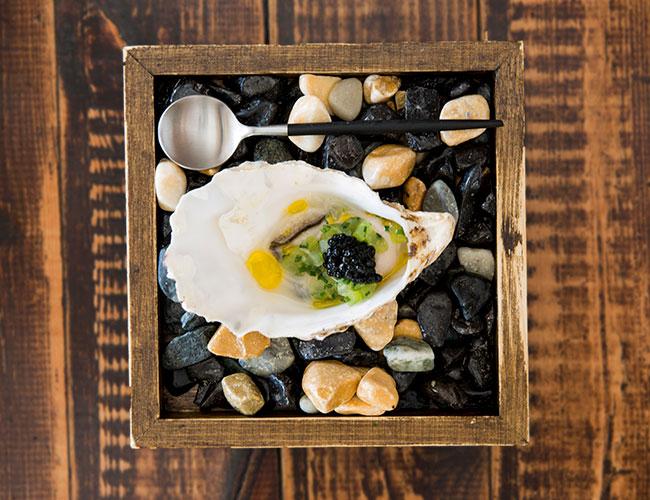 Lindisfarne oyster, cucumber, ginger, caviar on Zieher Goa spoon